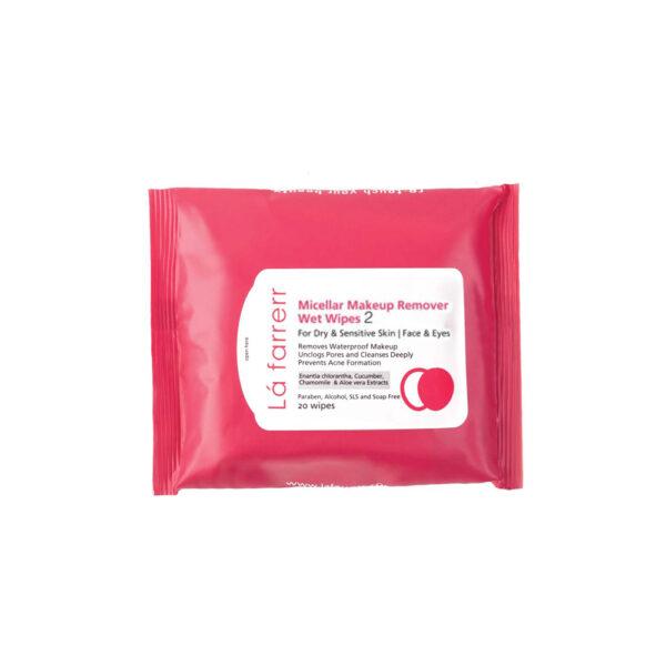 دستمال مرطوب آرايش پاک کن مخصوص پوستهای خشک و حساس لافارر Lafarrerr