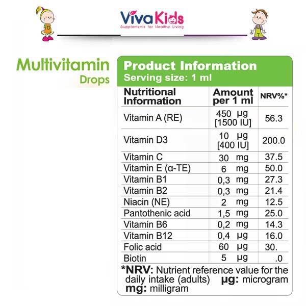 قطره مولتی ویتامین ویواکیدز ۳۰ میلی لیتر Vivakids