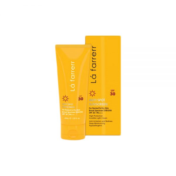 کرم ضد آفتاب و ضد لک بی رنگ مخصوص پوست خشک و معمولی SPF30 لافارر Lafarrerr