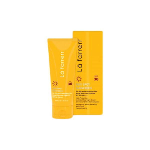 کرم ضد آفتاب و ضد لک بی رنگ مخصوص پوست چرب و مستعد آکنه SPF 30 لافاررLafarrerr