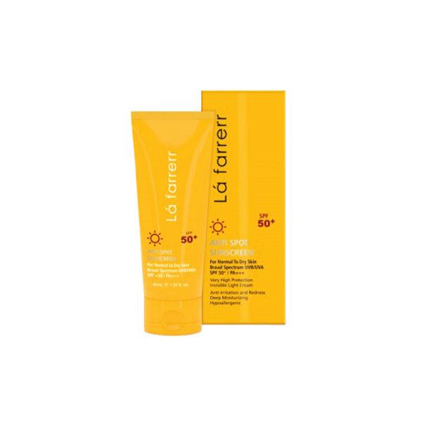 کرم ضد آفتاب و ضد لک بی رنگ مخصوص پوست خشک و معمولی SPF 50 لافارر Lafarrerr