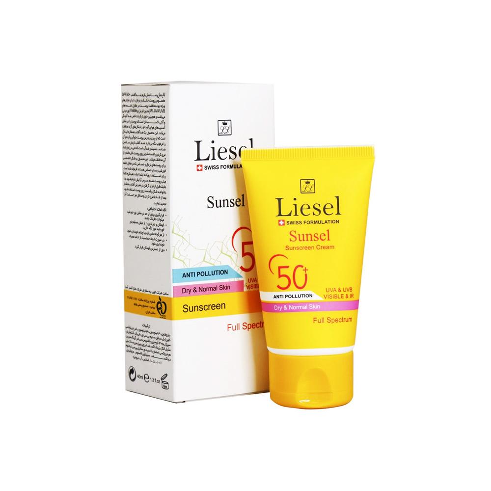 ضد آفتاب سانسل پوست خشک و نرمال +SPF50 بی رنگ لایسل Liesel