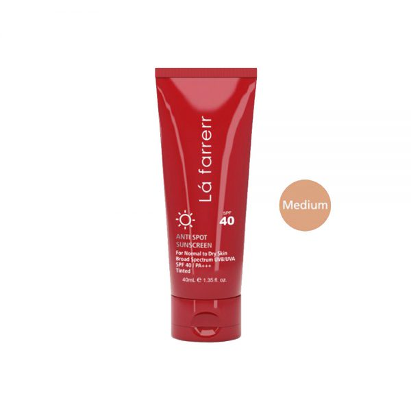 کرم ضد آفتاب و ضد لک رنگی مخصوص پوست های چرب و مستعد آکنه رنگ متوسط SPF40 لافارر Lafarrerr