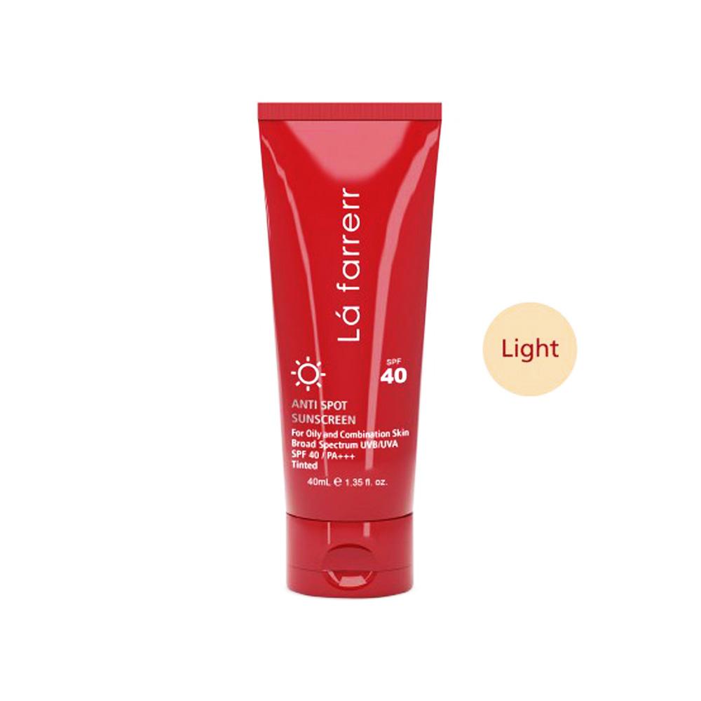 کرم ضد آفتاب و ضد لک رنگی مخصوص پوست های چرب و مستعد آکنه رنگ روشن لافارر SPF40 Lafarrerr