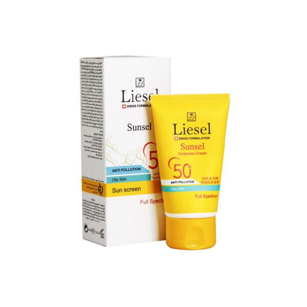 ضد آفتاب سانسل پوست چرب +SPF50 بی رنگ لایسل Liesel