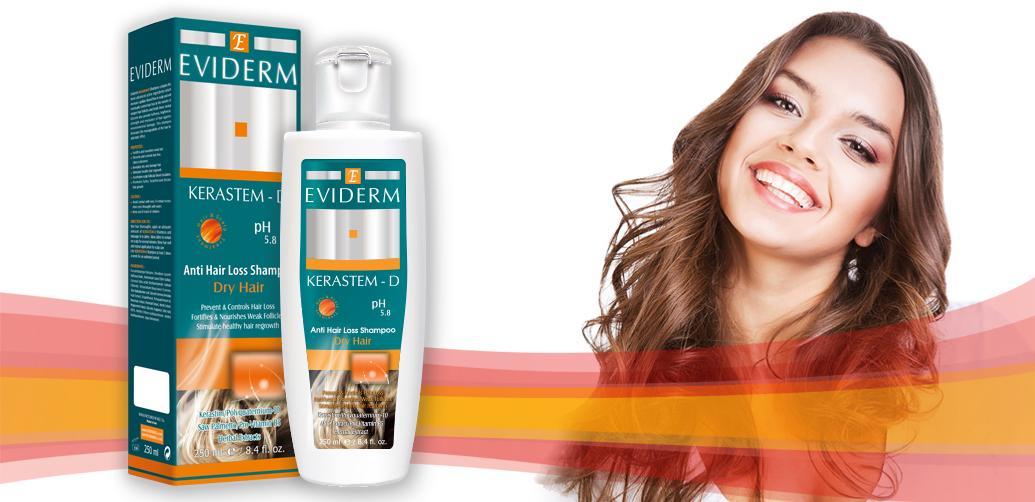 شامپو تقویت کننده موهای خشک کراستم دی Eviderm KERASTEM-D Shampoo