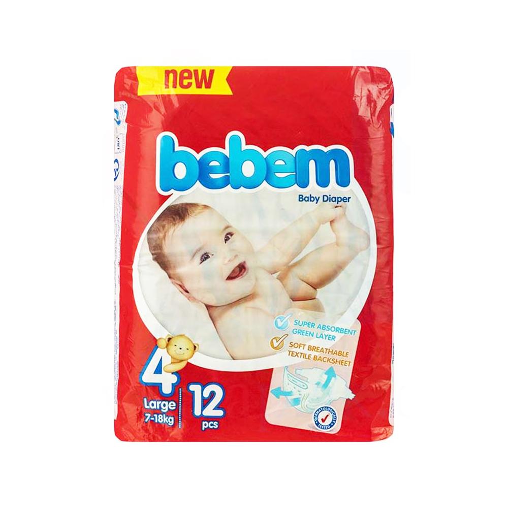پوشک ببم مدل New سایز ۴ بسته ۱۲ عددی Bebem