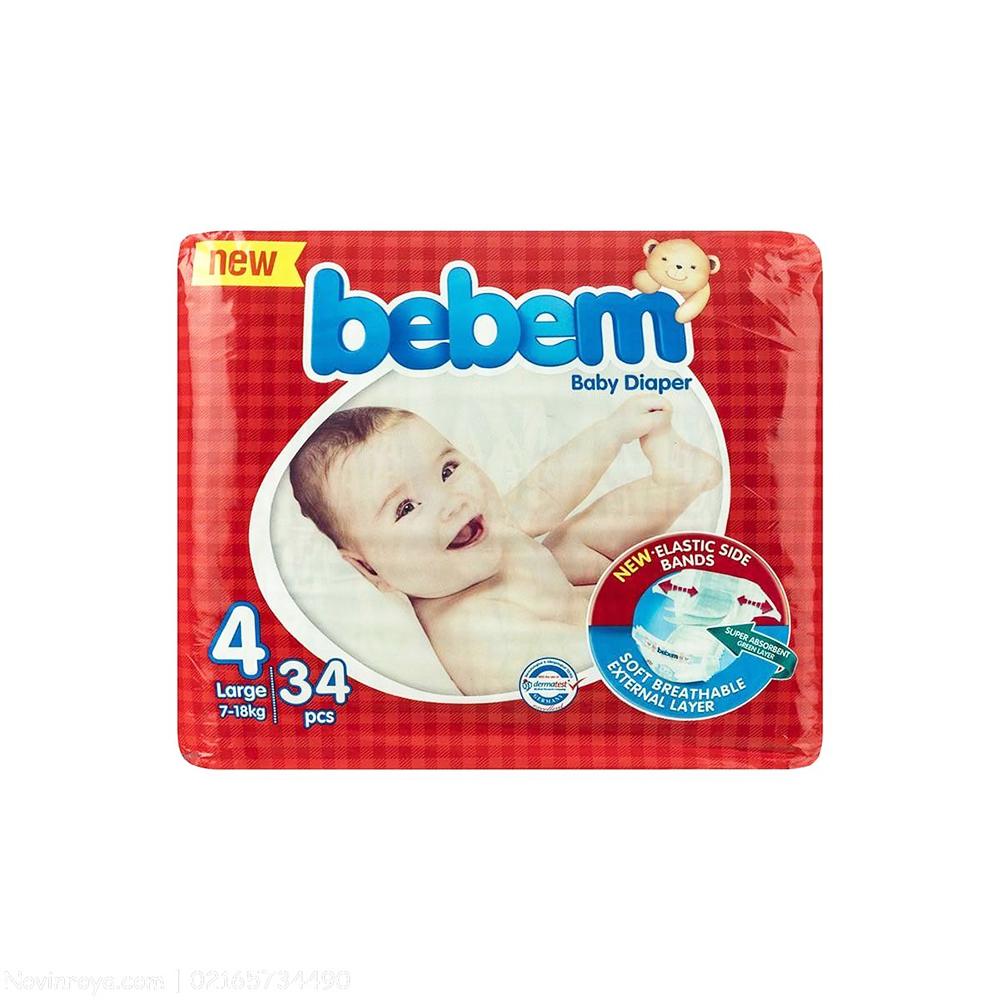 پوشک ببم مدل New سایز ۴ بسته ۳۴ عددی Bebem