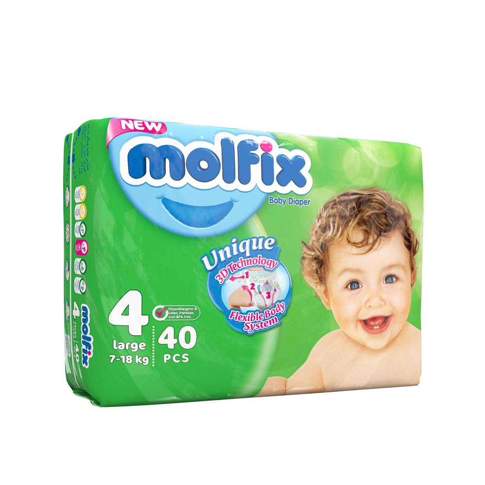 پوشک دوقلو سایز ۴ بسته ۴۰ عددی مولفیکس MOLFIX