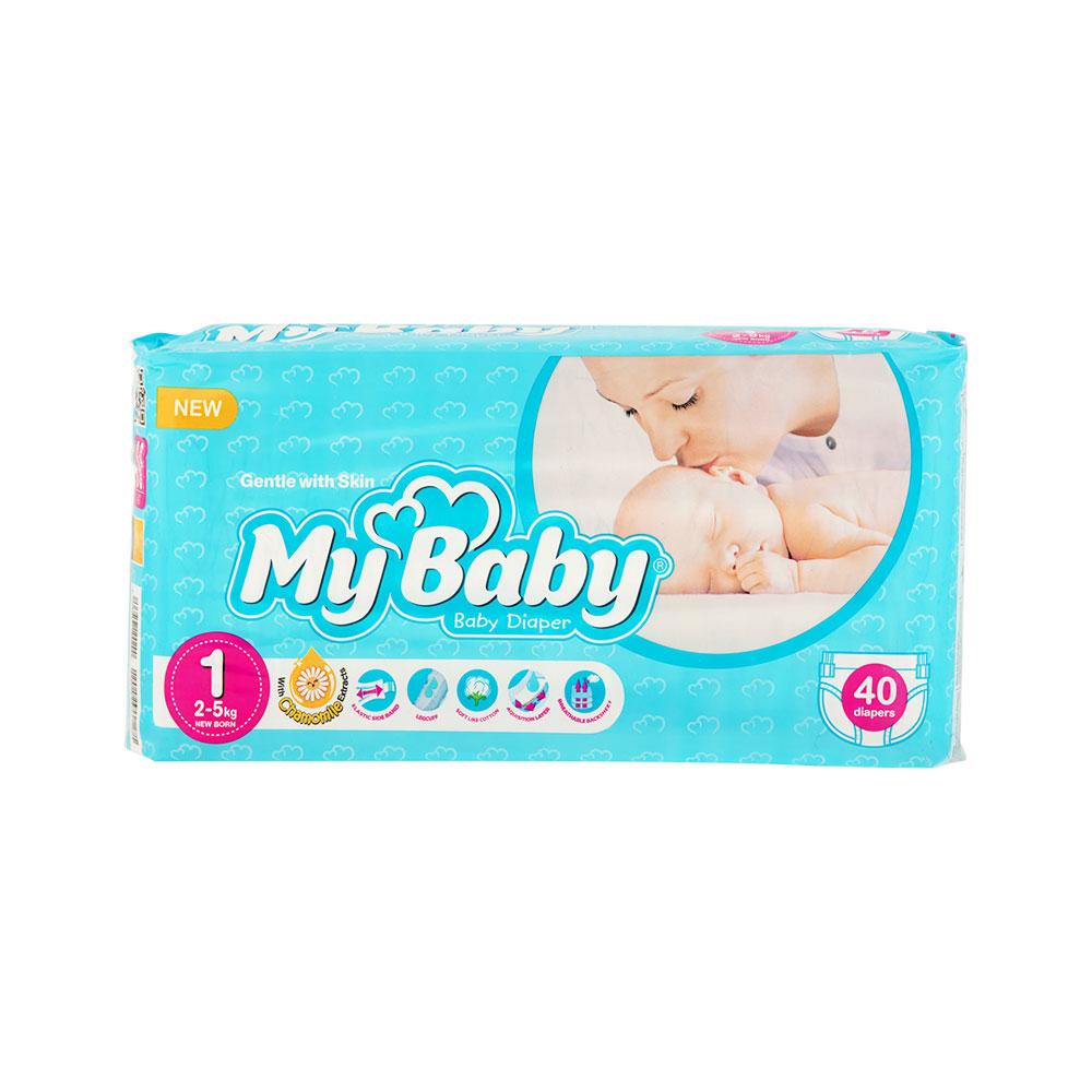 پوشک مای بیبی آبی سری مهربان با پوست سایز ۱ بسته ۴۰ عددی My Baby Chamomile