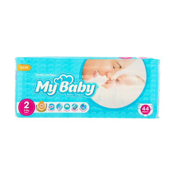 پوشک مای بیبی آبی سری مهربان با پوست سایز ۲ بسته ۴۴ عددی My Baby Chamomile
