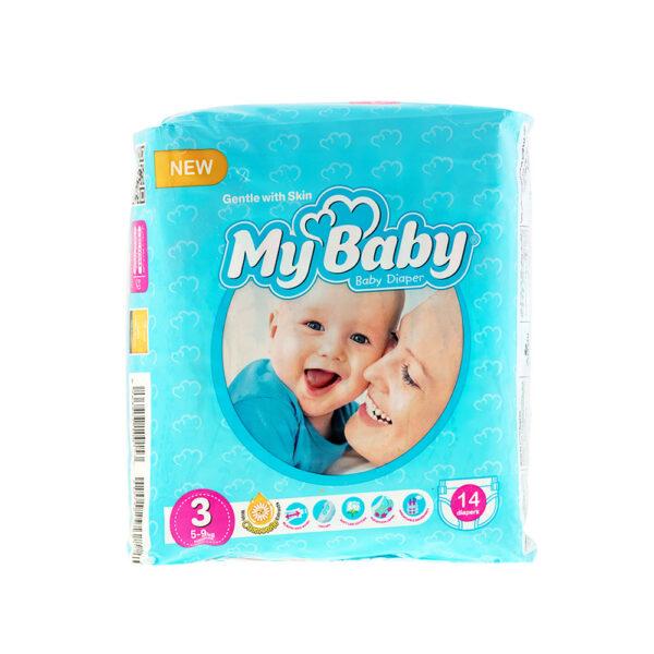 پوشک مای بیبی آبی سری مهربان با پوست سایز ۳ بسته ۱۴ عددی My Baby Chamomile