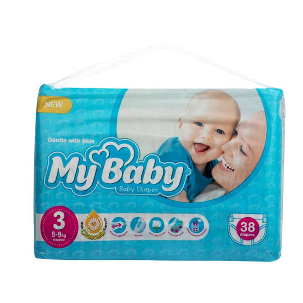 پوشک مای بیبی آبی سری مهربان با پوست سایز ۳ بسته ۳۸ عددی My Baby Chamomile