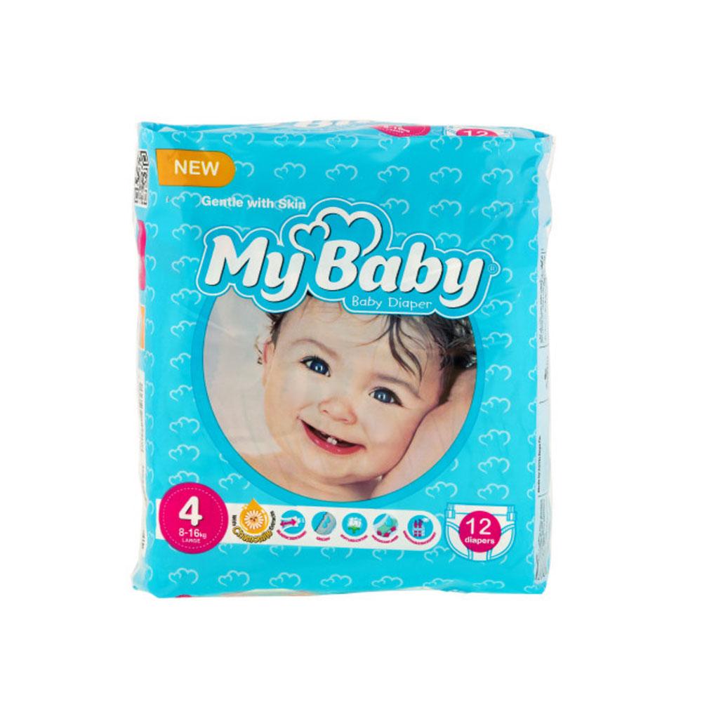 پوشک مای بیبی آبی سری مهربان با پوست سایز ۴ بسته ۱۲ عددی My Baby Chamomile