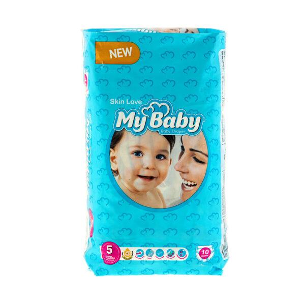 پوشک مای بیبی آبی سری مهربان با پوست سایز ۵ بسته ۱۰ عددی My Baby Chamomile