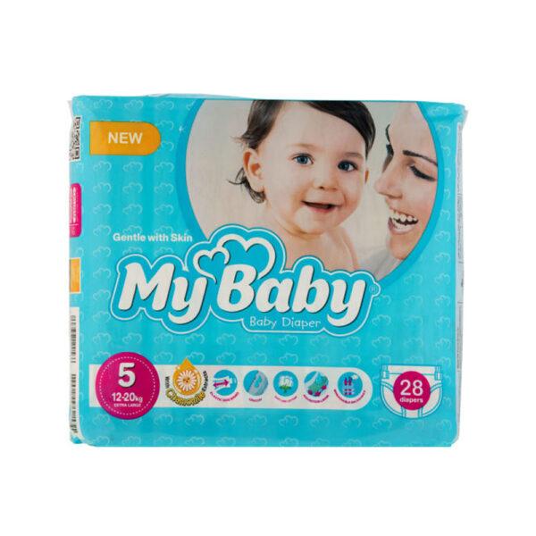 پوشک مای بیبی آبی سری مهربان با پوست سایز ۵ بسته ۲۸ عددی My Baby Chamomile