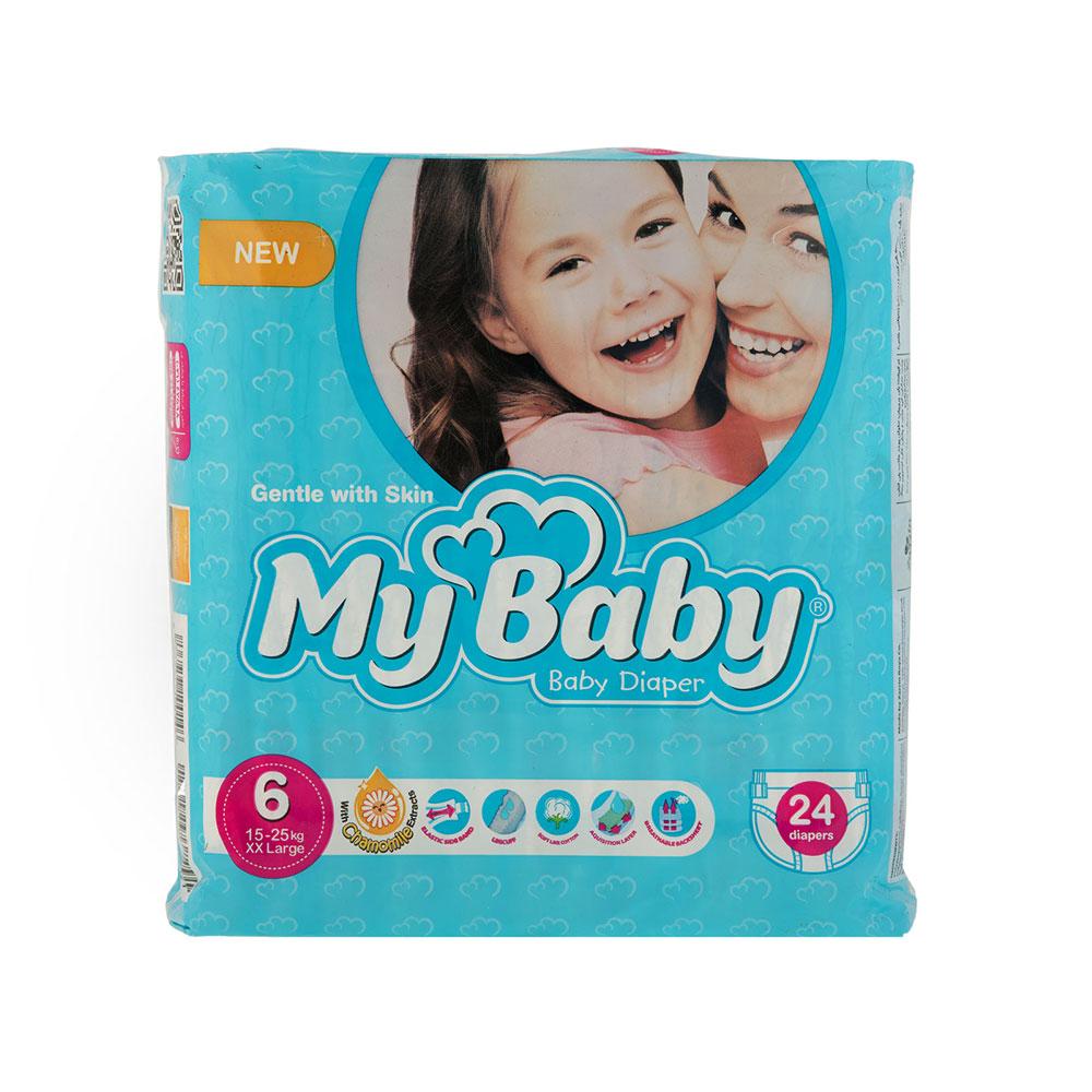 پوشک مای بیبی آبی سری مهربان با پوست سایز ۶ بسته ۲۴ عددی My Baby Chamomile