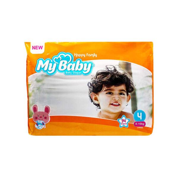 پوشک مای بیبی نارنجی سری خانواده شاد سایز ۴ بسته ۳۴ عددی My Baby Happy Family