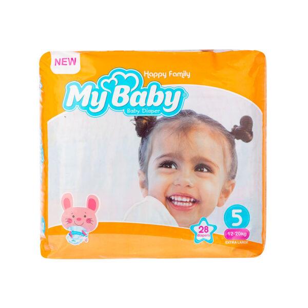 پوشک مای بیبی نارنجی سری خانواده شاد سایز ۵ بسته ۲۸ عددی My Baby Happy Family