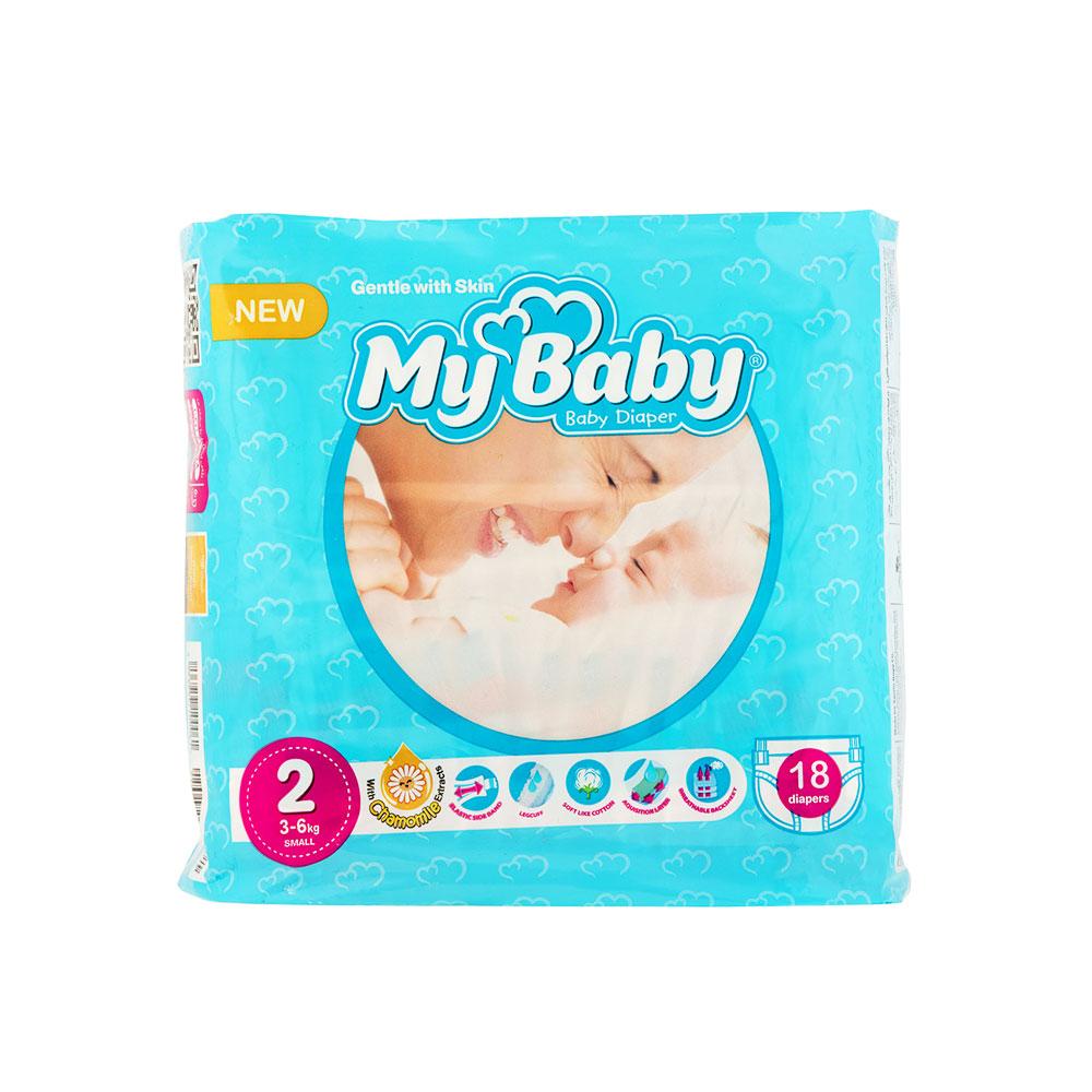پوشک مای بی بی آبی سری مهربان با پوست سایز ۲ بسته ۱۸ عددی My Baby Chamomile