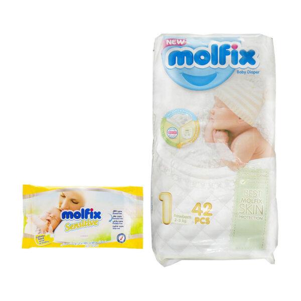 پوشک مدل ۳D سایز ۱ بسته ۴۲ عددی به همراه دستمال مرطوب مولفیکس MOLFIX
