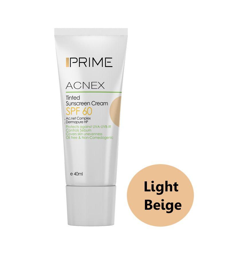 کرم ضد آفتاب رنگی پریم مدل Acnex Light Beige SPF60 حجم 40 میلی لیتر