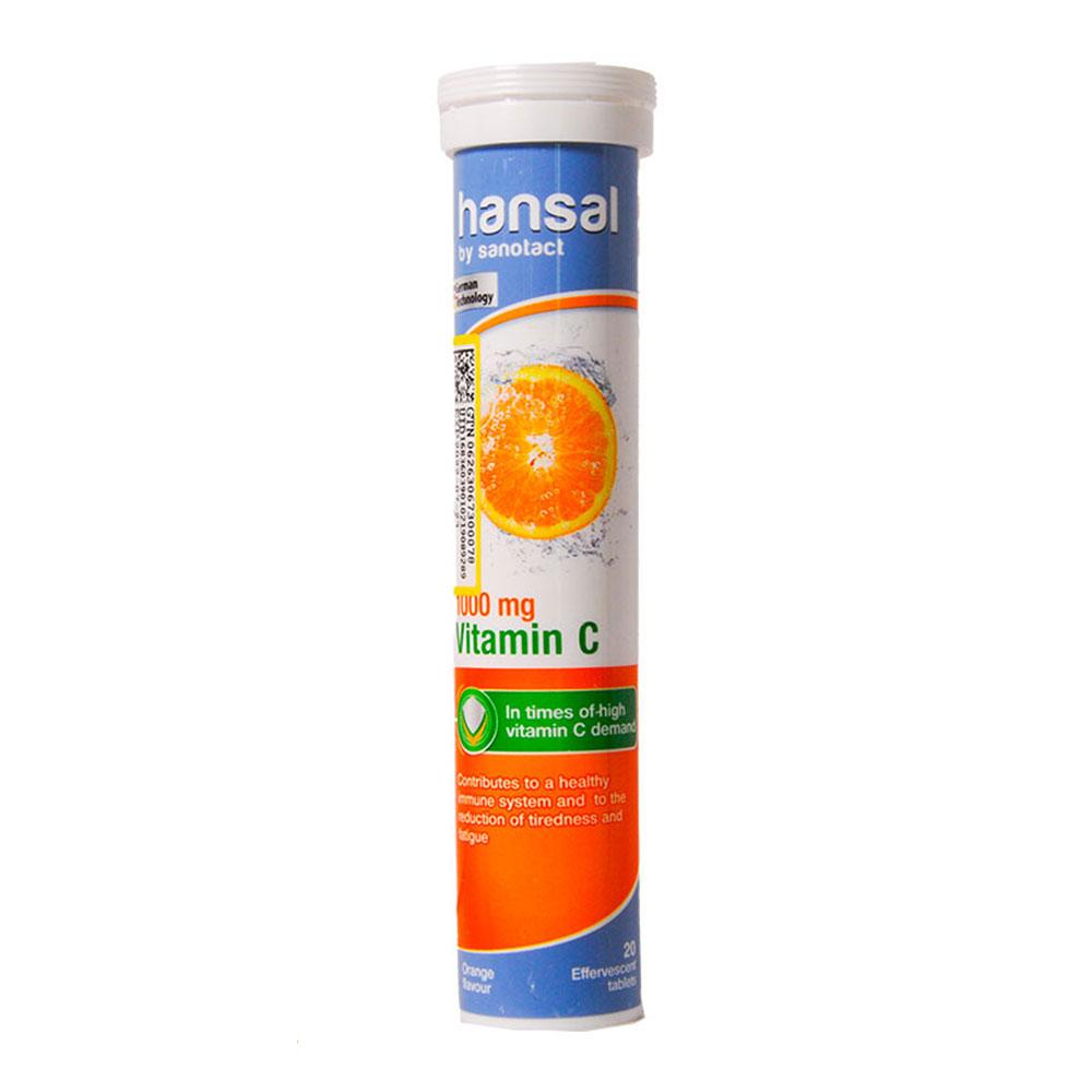 قرص جوشان ویتامین C 1000 میلی گرم هانسال با طعم پرتقال 20 عدد