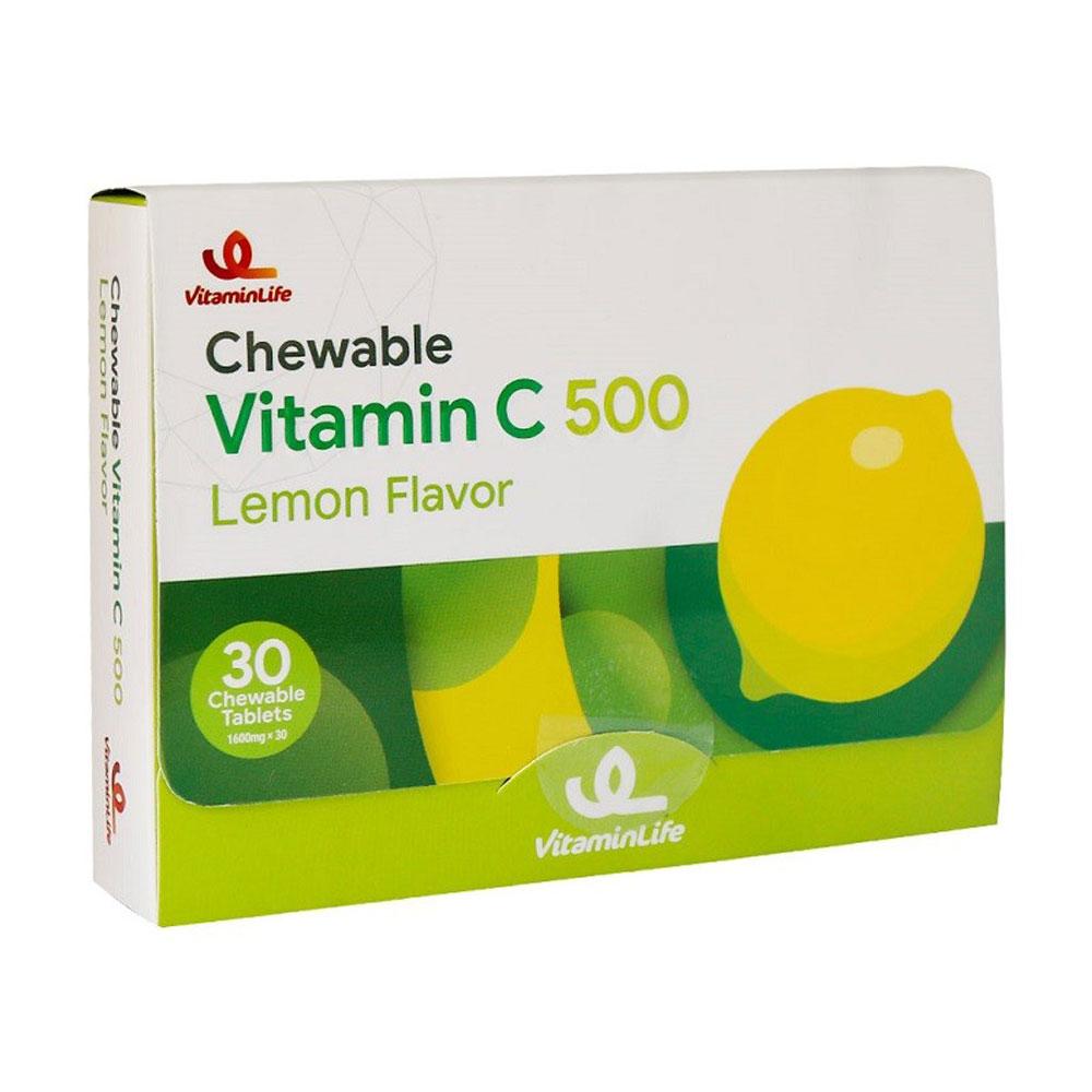 قرص جویدنی ویتامین C 500 میلی گرم ویتامین لایف 30 عدد