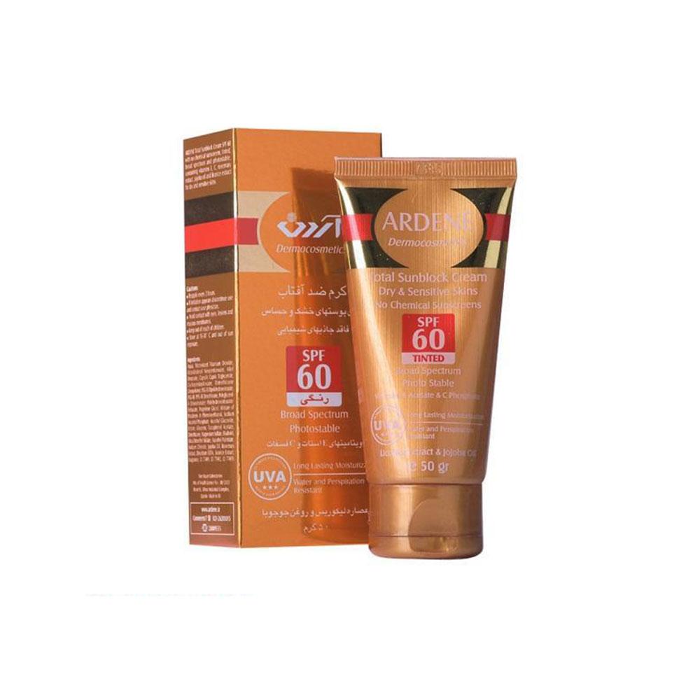 ضد آفتاب فیزیکی فاقد جاذب های شیمیایی رنگی SPF60 پوست خشک و حساس آردن ARDENE